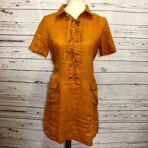 Maeve Dress Orange Linen Tunic Lace Up Front US 8